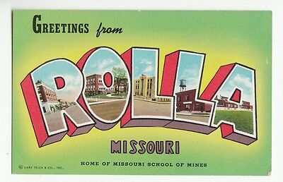 [48907] Old Large Letter Postcard Greetings From Rolla, Missouri