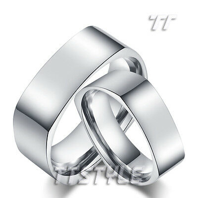 TTstyle 7mm Silver Stainless Steel Square Wedding Band Ring Set For Couple NEW