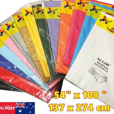 16 Colour Rectangle Plastic Table Cloth Cover Wedding Birthday Party Tablecover