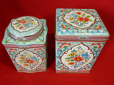 2 Matching Damer Floral Tea/Candy Tin Container Long Island NY Made in England
