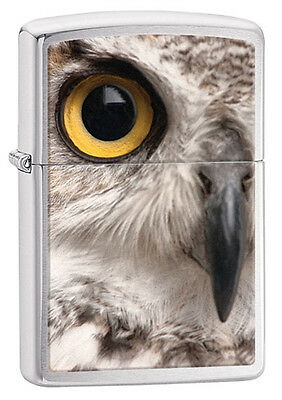 Personalised Polished Chrome Owl Face Zippo Cigarette Lighter, Engraved Free