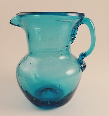 Bright Blue Art Glass 3.5 Inch Pitcher Rough Pontil Applied Handle