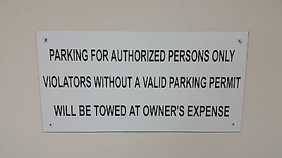 "No Parking Sign UV Stable for Exterior / Interior - White w Black Text 12"" X 24"""
