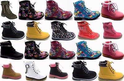 Girls Kids Round Toe Combat Military Lace Up Mid Calf Boots Shoe Sz 11-4