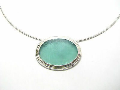 Ellipse OOAK 925 Sterling Silver Roman Glass Pendant Necklace