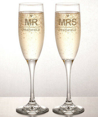 Personalised Engraved Champagne Flutes (set of 2) - Mr & Mrs Wedding - Glassware