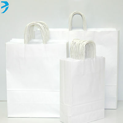 Ribbed Paper Carrier Bags Twisted Handle High Quality Gift Boutique Bag White
