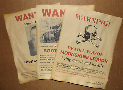 Set of 3 Moonshine Wanted Posters Popcorn Sutton, Bootleg Stills, more