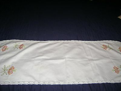 Vintage Hand Embroidered Table Runner..Pink Flowers/Floral