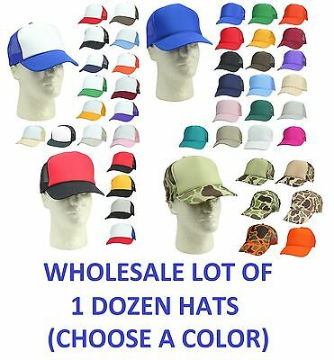 1 DOZEN Trucker Hat Baseball Caps Mesh Cap Blank Plain Hats CHOOSE A COLOR