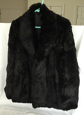 Black Rabbit Fur Coat, Misses size 14; FREE SHIP with Buy-It-Now!