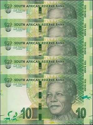 South Africa 10 Rand ND 2014 , P-133 with Omron Rings , UNC 5 Pieces