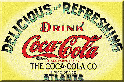 """Yellow Keg Label Coca Cola  2"""" X  3""""  Magnet, Free Shipping, Refrig Magnet"""