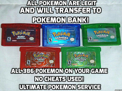 Pokemon Ruby Sapphire Emerald FireRed LeafGreen Version 386 All Pokemon Service!
