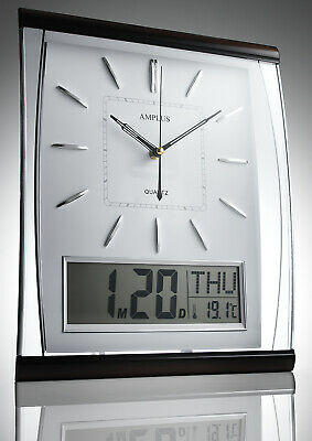 KG Homewares Silent Wall Clock Digital Large Jumbo Date And Day Display In White