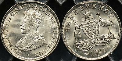 Australia 1921 M Threepence 3d PCGS MS65 Gem Uncirculated