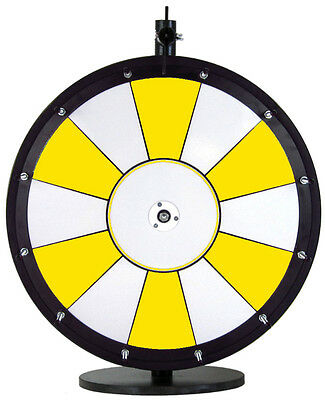 "18"" Yellow and White Promotional Dry Erase Trade Show Prize Wheel"