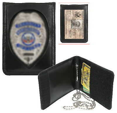 Loss Prevention Store Detective Leather Neck Chain Badge Shield & ID Holder Case
