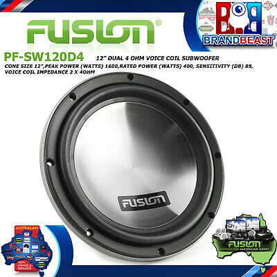 "Fusion Pf-Sw120D4 12"" Dvc 1600W Dual 4 Ohm Car Audio Subwoofer Sub Woofer Stereo"