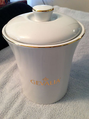 Gevalia White Ceramic Coffee Canister With Lid &Gold Trim