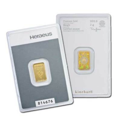 Lingot Or 2 grammes Or pur 24 carats 999,9/1000 Heraeus gold bar 2 gr