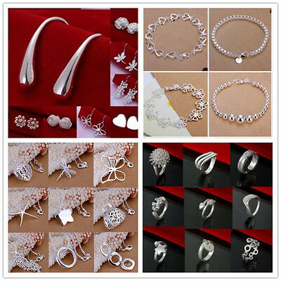 New Womens/Mens S925SILVER Bracelet/Necklace/Ring/Earring/Bangle/Chains Set