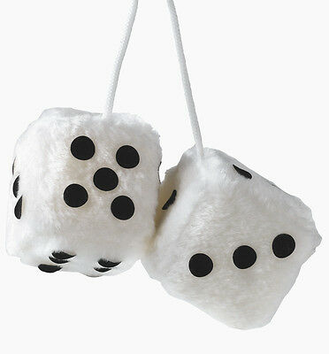 Sumex Pink & White Soft Fluffy Furry Car & Home Hanging Mirror Spotty Dice #SPK Auto, motor: onderdelen, accessoires