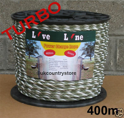 Green & White Power Charge Electric Fence Rope 400m - Horse Fencing Turbo Rope