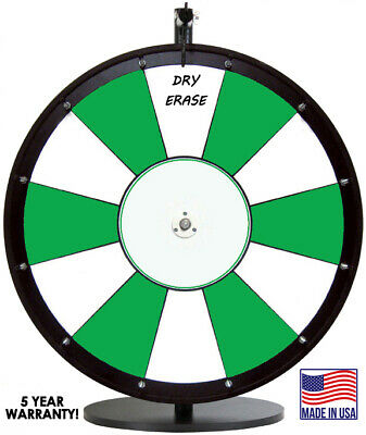 "24"" Green and White Promotional Dry Erase Spinning Prize Wheel"