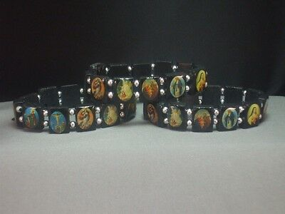 Christian 3 Bracelet Set - BLACK Wood Face Beads Silver Accents Holy Images