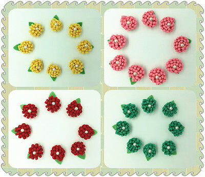 HOT FREE DIY 10-100PCS Daisy with Pearl Appliques/ Craft / Trim / Sewing 25mm