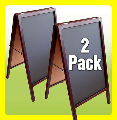 2 PACK Double Side Sidewalk Sign Restaurant Menu Board, A-FRAME CHALKBOARD