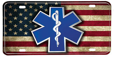 EMS Star of Life NOVELTY License Plate - Distressed American Flag & Seal