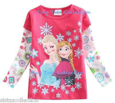 BNWT New with tags Girls pink Frozen Elsa Anna top tshirt shirt size 2