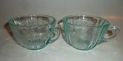 Federal Glass Co Madrid Depression Era 1930's Set Pair 2 Tea Cups Mugs