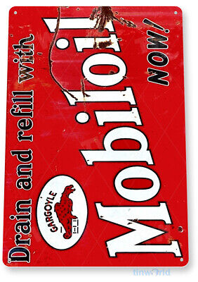 TIN SIGN Mobiloil Company Rustic Gas Mobil Oil Sign Garage Shop Store A130