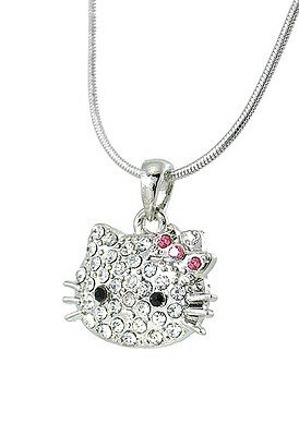 Cute Hello Kitty Necklace Silver Tone  Crystals Pink Bow 18 Inches