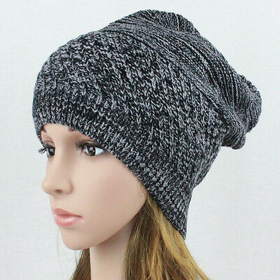 Mens Womens Baggy Knit Beanie Winter Hat Ski Cap Skull Slouchy Chic Black Wht MS