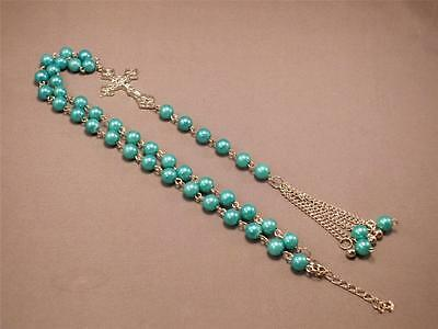 Christian Necklace Set 8mm GREEN Faux PEARL Bead Silver Tone Crucifix Accents