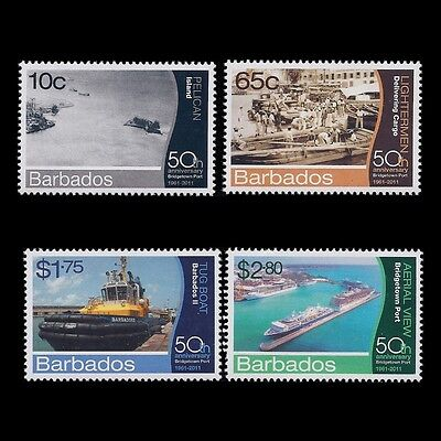 Barbados 2012 - 50th Anniv of Bridgetown Port Ships Boats - Sc 1204/7 MNH