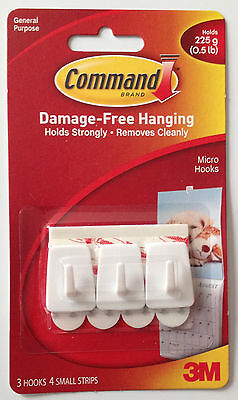 3M Command Micro Hooks Pack of 3 Hold up to 225g Damage Free Hooks Free P&P