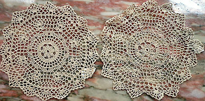 BESS Fashions Pair of 11 Inch Round Doilies Doily Cotton Off-White New Old Stock