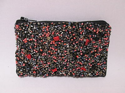 Black with Red Coral Sparkly Sequin Bead Coin Purse Credit Card Wallet #7F4