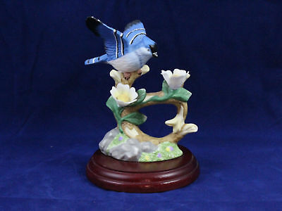 Vintage Porcelain Blue Jay~ Birds of Harmony~ Publishers Figurine on wooden base