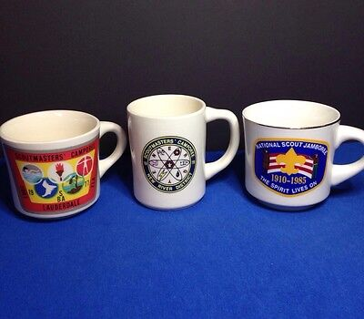 Lot of 3 Vintage 70's-80's Boy Scout- BSA Jamboree, Camporee Coffee Mugs Cups