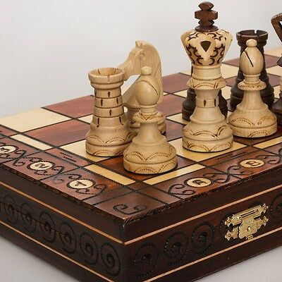 """Beautiful Collectible Wooden """"Ambassador"""" Gift Chess Set. Made in Poland"""