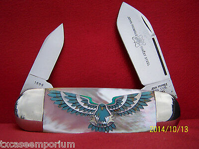 John Primble Genuine Pearl & Blue Turquoise W/Blue Opal Wing Tipped Eagle No RS