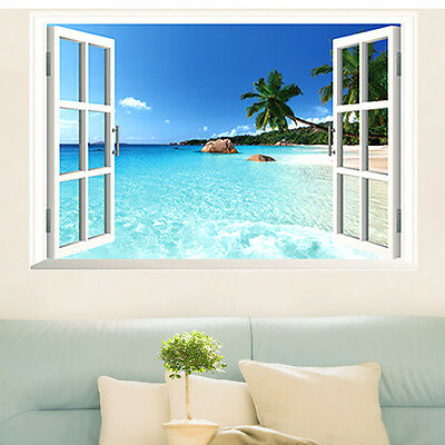 Large Removable Beach Sea 3D Window View Scenery Wall Sticker Decor Decals P6