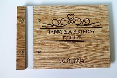 Wedding guest book, bride groom name engraved customisable unique rustic a5 size
