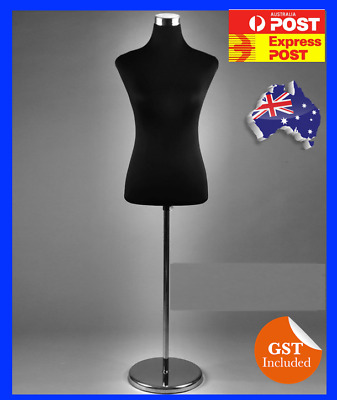 New Black Female Dress Form Mannequin torso Full Size Chrome Stand Medium